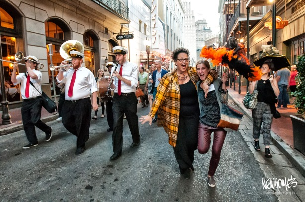Second Line Parade to Arnaud's, led by Cindy Allen, Editor in Chief of Interior Design Magazine.