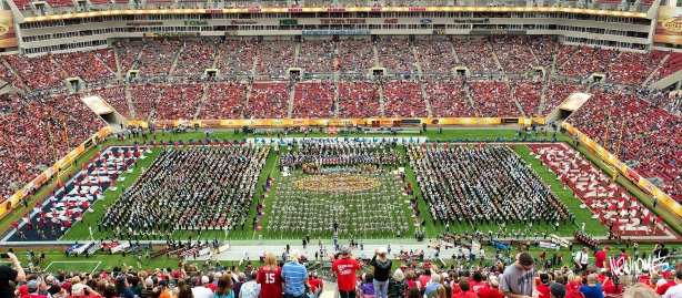 The halftime show featured several marching bands and dancers from all over the country, performing together as one (2000+ people).