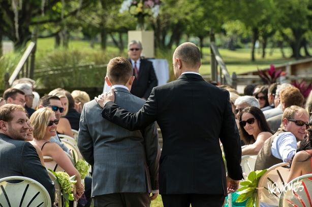 Groom and his son (the Best Man) heading down the aisle.